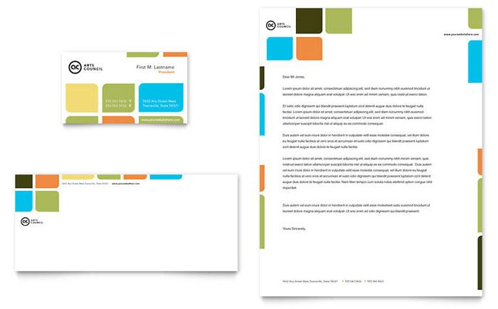 Arts Council  Education Business Card  Letterhead Template Design