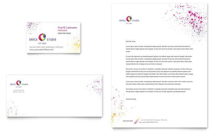 Dance Studio Business Card  Letterhead Template Design - microsoft stationery template