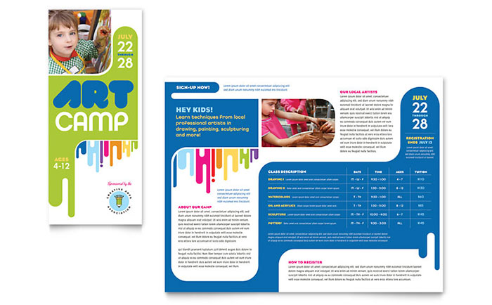 Kids Art Camp Brochure Template Design - sample preschool brochure
