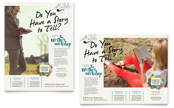 Writer\u0027s Workshop Poster Template Design