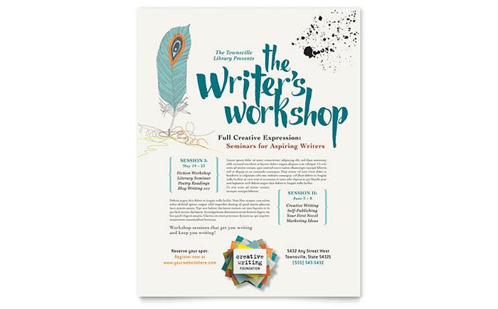 Writer\u0027s Workshop Flyer Template Design