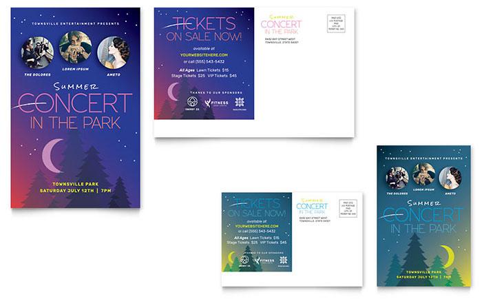 Summer Concert Poster Template Design - concert tickets design