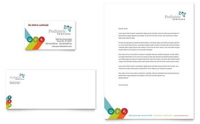 Free Templates For Legal Stationery And Business Cards Pediatrician And Child Care Business Card And Letterhead
