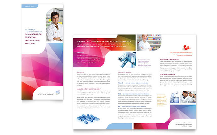 Pharmacy School Brochure Template Design - Free Pamphlet Templates Microsoft Word