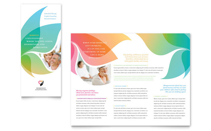 Marriage Counseling Tri Fold Brochure Template Design - brochure template free download microsoft word