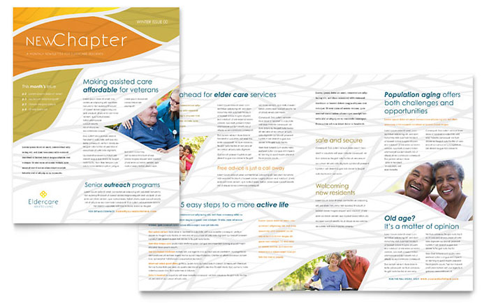 Assisted Living Newsletter Template Design - Newsletter Templates Free Word