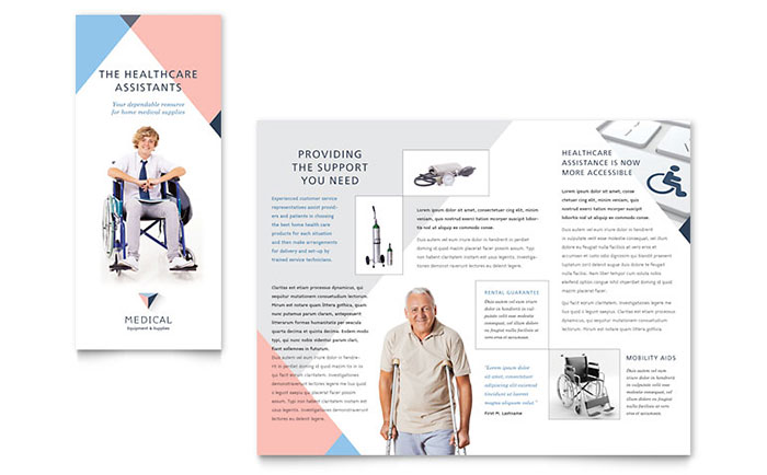 Disability Medical Equipment Brochure Template Design - medical brochure