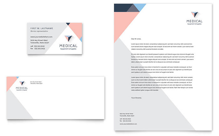 Disability Medical Equipment Business Card  Letterhead Template Design - office letterhead template