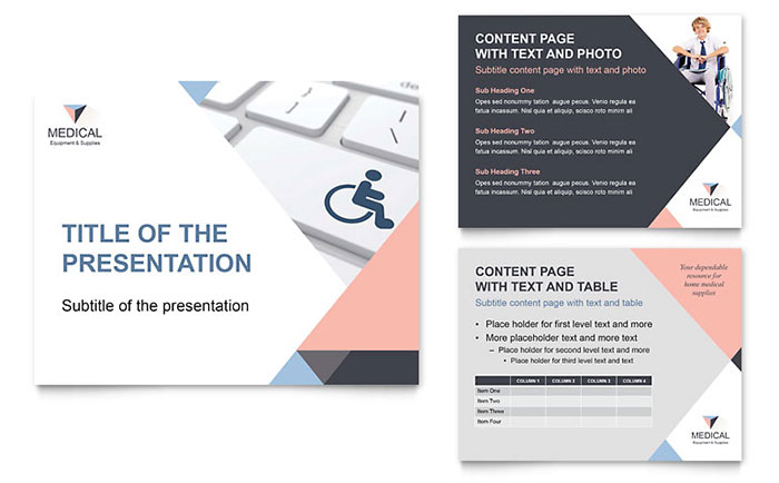 Disability Medical Equipment PowerPoint Presentation Template Design