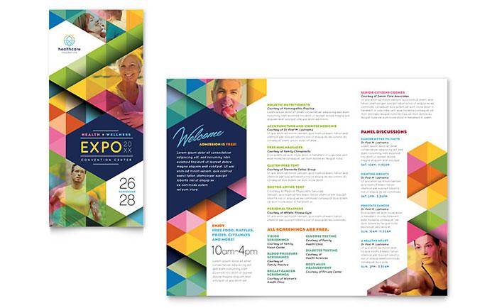 Health Fair Tri Fold Brochure Template Design - conference brochure template