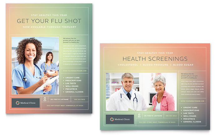 Medical Clinic Poster Template Design - doctor office website template