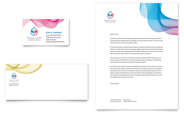 Insurance Consulting Business Card  Letterhead Template Design