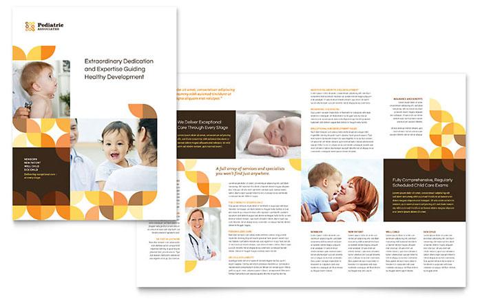 Pediatric Doctor Brochure Template Design - brochure format word