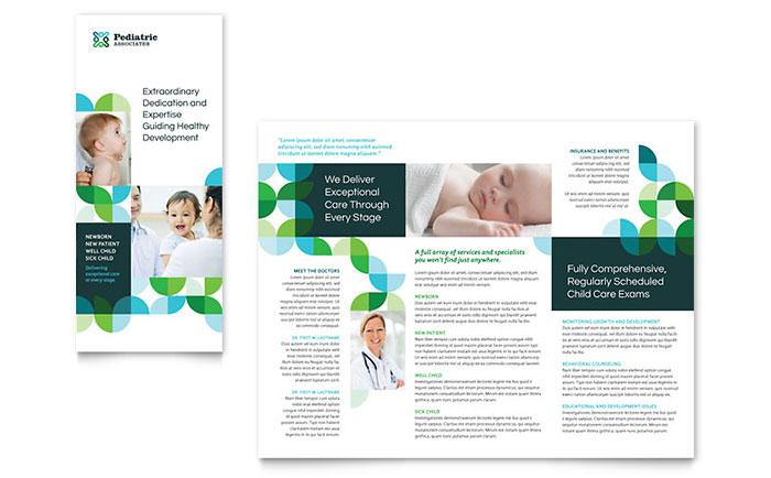 Pediatric Doctor Tri Fold Brochure Template Design - doctor office website template