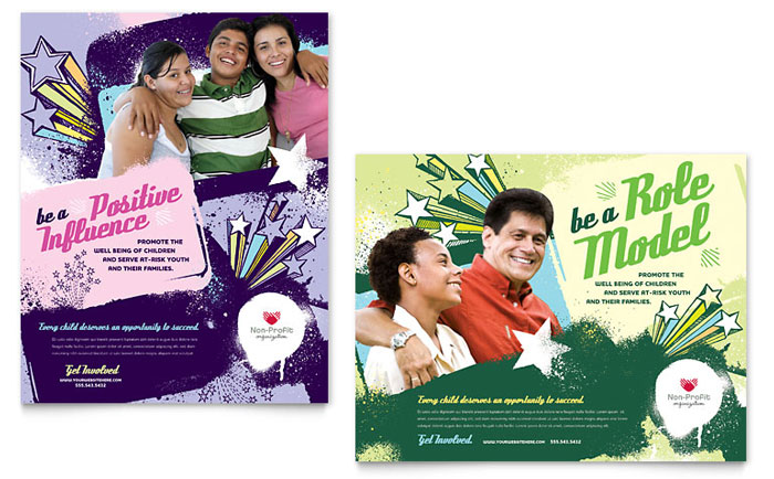 Non Profit Youth Education Posters Templates  Graphic Designs