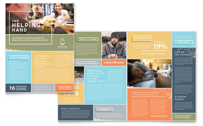 Homeless Shelter Newsletter Template Design - news letter formats