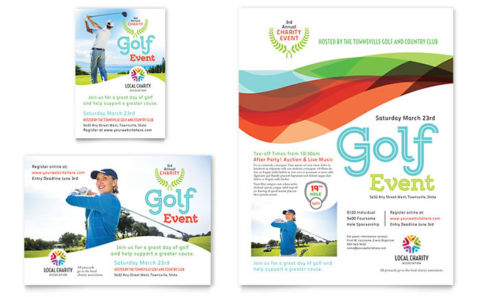 Charity Golf Event Flyer  Ad Template Design