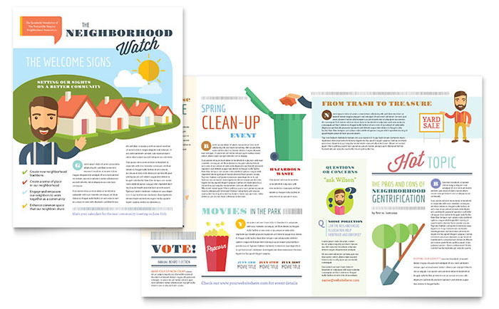 Half Fold Newsletter Templates 2-Page, 4-Page Newsletters