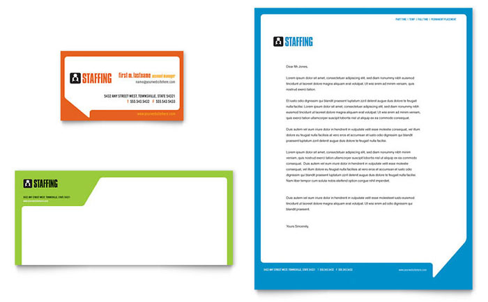 Staffing  Recruitment Agency Business Card  Letterhead Template Design