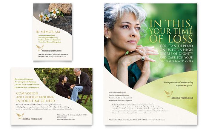 Memorial  Funeral Program Brochure Template Design