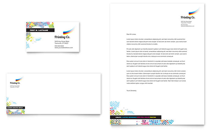 Printing Company Business Card  Letterhead Template Design - company letterhead template