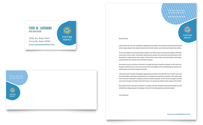 Employment Agency Business Card  Letterhead Template Design