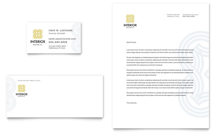 Interior Design Business Card  Letterhead Template Design