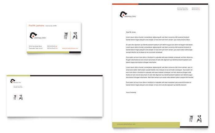 Veterinary Clinic Business Card  Letterhead Template Design