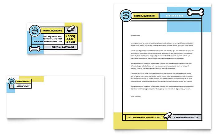 Pet Boarding Business Card  Letterhead Template Design
