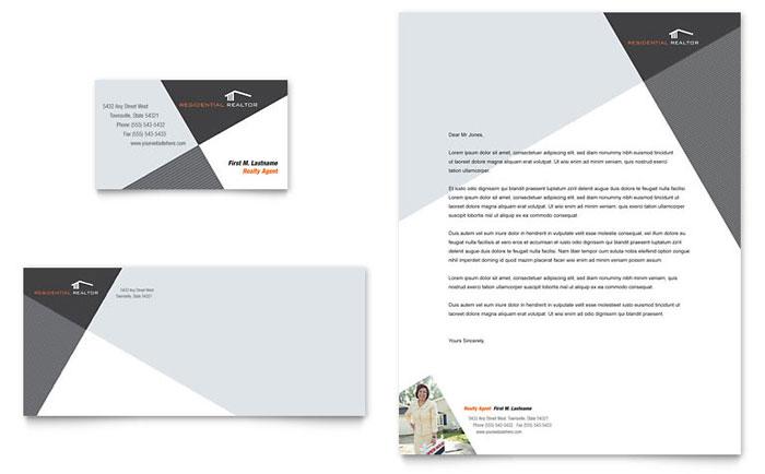 Contemporary  Modern Real Estate Business Card  Letterhead
