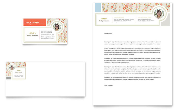 Real Estate Home for Sale Business Card  Letterhead Template Design