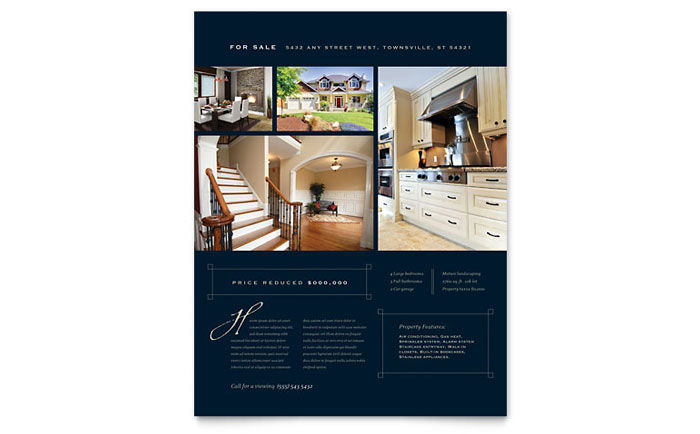 Luxury Home Real Estate Flyer Template Design - home for sale brochure