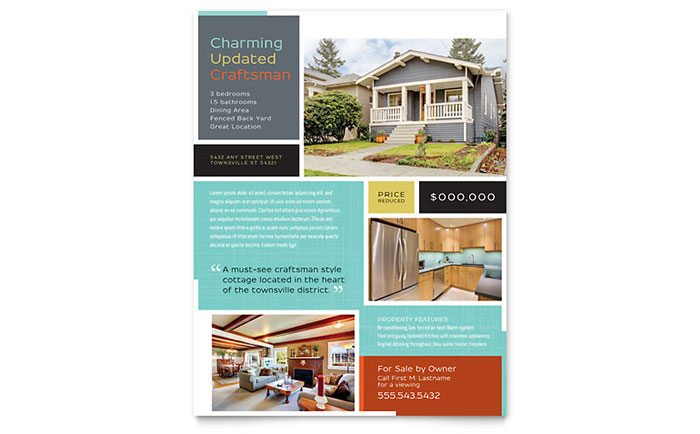 Craftsman Home Flyer Template Design - home sale flyer template