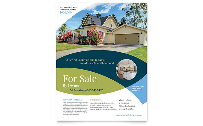 home for sale by owner flyer template