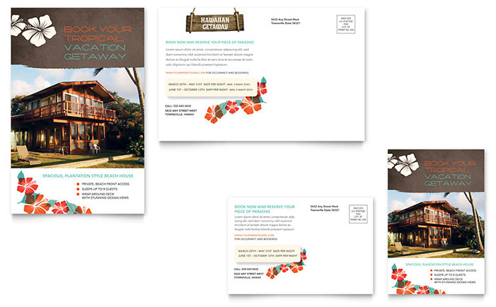Vacation Rental Postcard Template Design - for rent flyer template