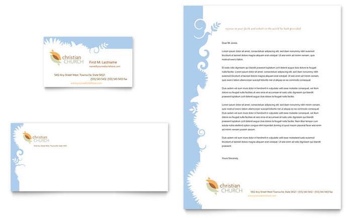 Christian Church Business Card  Letterhead Template Design