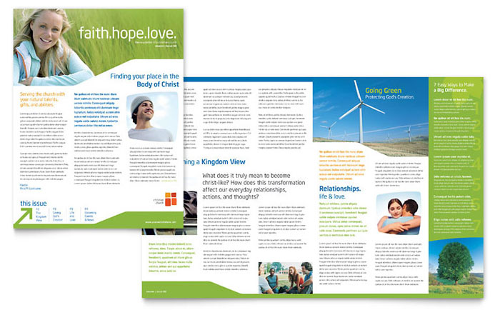 Church Youth Ministry Newsletter Template Design - news letter formats