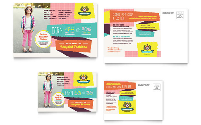 Kids Consignment Shop Postcard Template Design - Microsoft Word Postcard Template