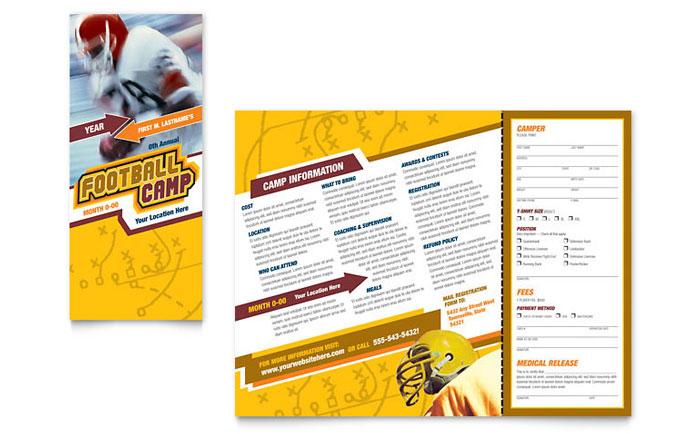 Football Sports Camp Brochure Template Design - sports brochure