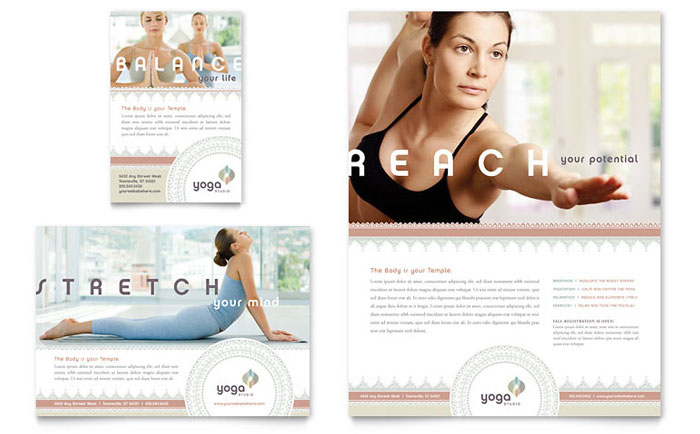 Pilates  Yoga Flyer  Ad Template Design - yoga flyer