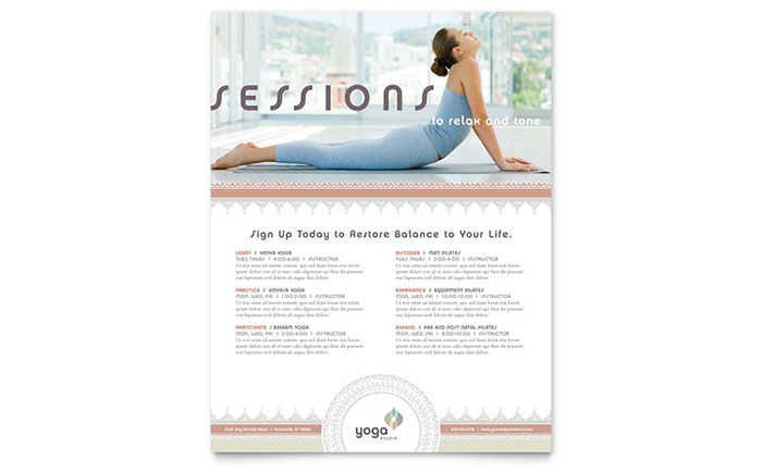 Pilates  Yoga Class Flyer Template Design