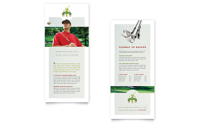 Golf Course \ Instruction Rack Card Template Design - instruction template