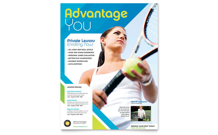 Tennis Club  Camp Tri Fold Brochure Template Design - tennis flyers templates free