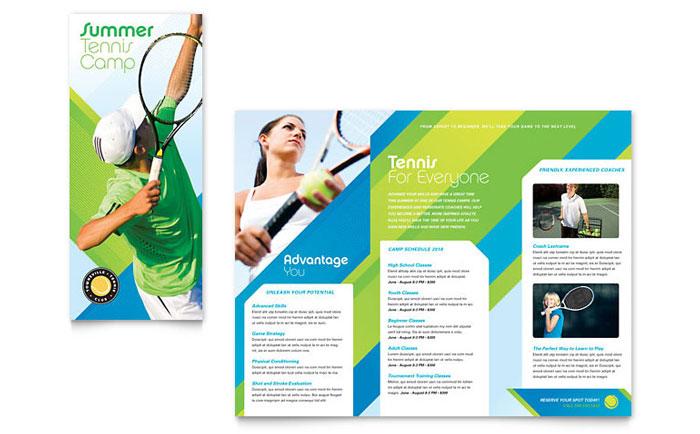 Tennis Club \ Camp Tri Fold Brochure Template Design - sports brochure