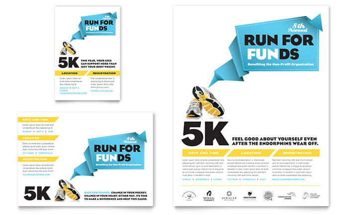 Charity Run Tri Fold Brochure Template Design - advertising flyer template