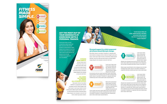 Fitness Trainer Brochure Template Design - Fitness Brochure Template