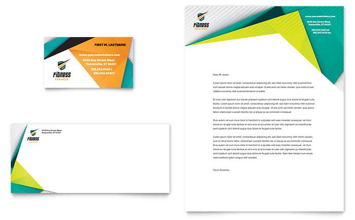 Fitness Trainer Business Card  Letterhead Template Design