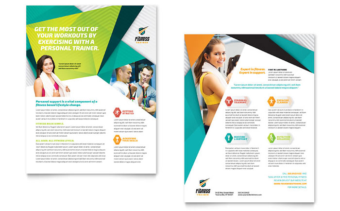 Fitness Trainer Datasheet Template Design - Fitness Brochure