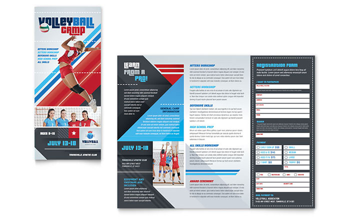Volleyball Camp Brochure Template Design - make a trifold brochure in word