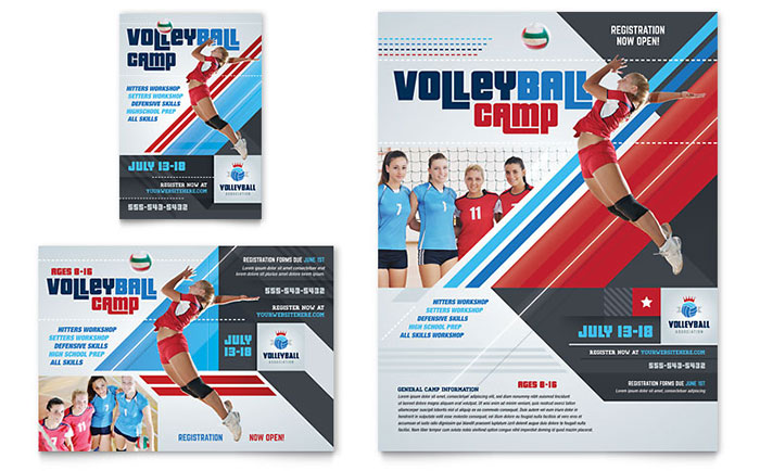 Volleyball Camp Flyer  Ad Template Design